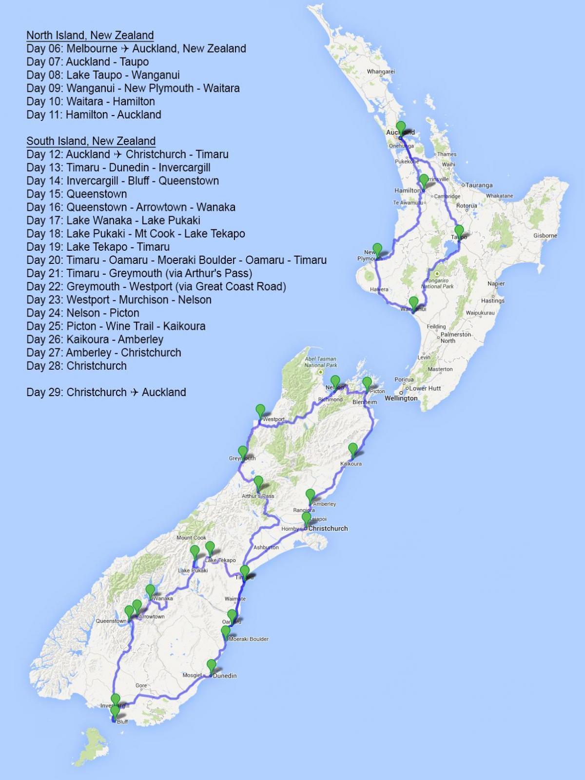 New Zealand Reiseplanlegger Kart Kart Over New Zealand
